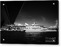 Seaplane Passing Ferry And Dock At Fort Jefferson Dry Tortugas National Park Florida Keys Usa Acrylic Print by Joe Fox