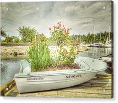 Seaquel - A Timeworn Boat Acrylic Print by Carol Cottrell