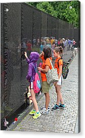 Searching A Loved Ones Name On The Vietnam Veterans Memorial Acrylic Print by Jim Fitzpatrick