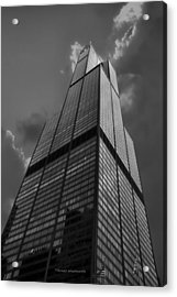 Sears Willis Tower Black And White 01 Acrylic Print by Thomas Woolworth