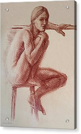 Seated At The Barre Acrylic Print by Sarah Parks