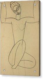 Seated Caryatid Acrylic Print by Amedeo Modigliani