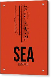 Seattle Airport Poster 2 Acrylic Print by Naxart Studio