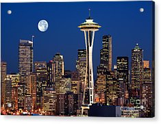 Seattle At Full Moon Acrylic Print by Inge Johnsson