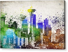 Seattle City Skyline Acrylic Print by Aged Pixel