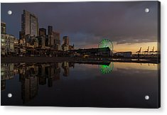 Seattle Cityscape And The Wheel Acrylic Print by Mike Reid