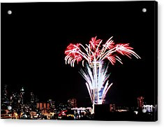 Seattle New Years Acrylic Print by Benjamin Yeager