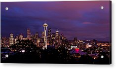 Seattle Night Acrylic Print by Chad Dutson