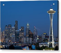 Seattle Nights Acrylic Print by David Yack