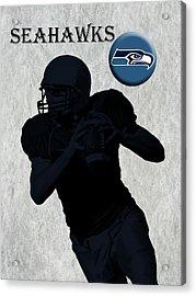 Seattle Seahawks Football Acrylic Print by David Dehner