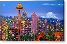 Seattle Space Needle 5 Acrylic Print by Portland Art Creations