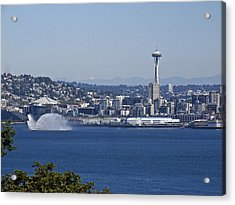 Seattle Space Needle And Fire Boat Acrylic Print by Ron Roberts