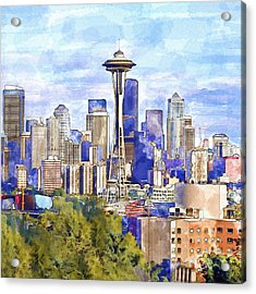 Seattle View In Watercolor Acrylic Print by Marian Voicu