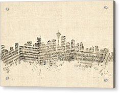 Seattle Washington Skyline Sheet Music Cityscape Acrylic Print by Michael Tompsett