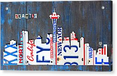 Seattle Washington Space Needle Skyline License Plate Art By Design Turnpike Acrylic Print by Design Turnpike