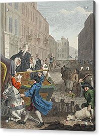 Second Stage Of Cruelty, Illustration Acrylic Print by William Hogarth