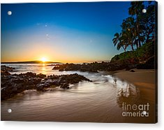 Secret Beach Sunset Acrylic Print by Jamie Pham