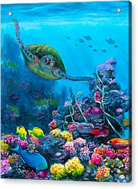 Secret Sanctuary - Hawaiian Green Sea Turtle And Reef Acrylic Print by Karen Whitworth