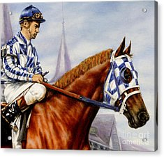 Secretariat At Churchill Acrylic Print by Thomas Allen Pauly