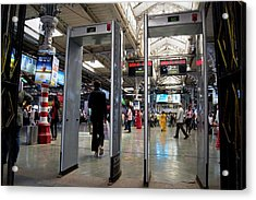Security Scanners At Mumbai Station Acrylic Print by Mark Williamson