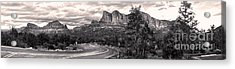 Sedona Arizona Black And White Panorama Acrylic Print by Gregory Dyer