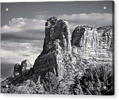 Sedona Arizona Mountain Peak - Black And White Acrylic Print by Gregory Dyer