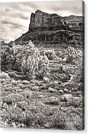 Sedona Arizona Mountain View  - Black And White Acrylic Print by Gregory Dyer