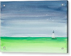 Seeking Refuge Before The Storm Alligator Reef Lighthouse Acrylic Print by Michelle Wiarda