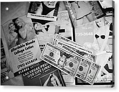 Selection Of Leaflets Advertising Girls Laid Out On A Hotel Bed With Us Dollars Cash In An Envelope  Acrylic Print by Joe Fox