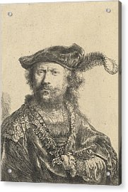 Self Portrait In A Velvet Cap With Plume Acrylic Print by Rembrandt