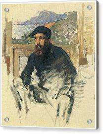 Self-portrait In His Atelier Acrylic Print by Claude Monet