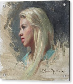 Self Portrait In Profile Acrylic Print by Anna Rose Bain