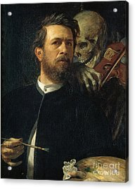 Self-portrait With Death As A Fiddler Acrylic Print by Celestial Images