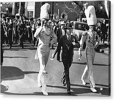 Senator Huey Long In Parade Acrylic Print by Underwood Archives