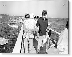 Senator John F. Kennedy And Jacqueline Kennedy At Hyannis Port Marina Acrylic Print by The Phillip Harrington Collection