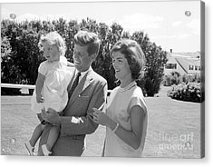 Senator John F. Kennedy With Jacqueline And Caroline Acrylic Print by The Phillip Harrington Collection