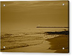 Sepia Lighthouse Acrylic Print by Frozen in Time Fine Art Photography