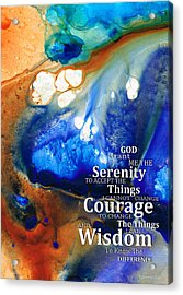 Serenity Prayer 4 - By Sharon Cummings Acrylic Print by Sharon Cummings