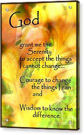 Serenity Prayer In Golden Leaves Acrylic Print by Ella Kaye Dickey
