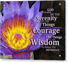 Serenity Prayer With Lotus Flower By Sharon Cummings Acrylic Print by Sharon Cummings