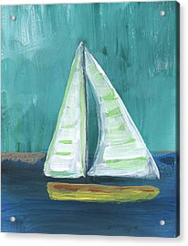 Set Free- Sailboat Painting Acrylic Print by Linda Woods