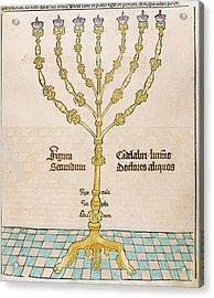 Seven-branched Candelabrum Or Menorah Acrylic Print by Prisma Archivo