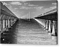 seven mile bridge BW Acrylic Print by Rudy Umans