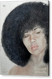 Sexy Aevin Dugas Holder Of The Guinness Book Of World Records For The Largest Afro Acrylic Print by Jim Fitzpatrick