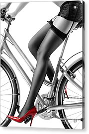 Sexy Woman In Red High Heels And Stockings Riding Bike Acrylic Print by Oleksiy Maksymenko