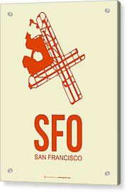 Sfo San Francisco Airport Poster 1 Acrylic Print by Naxart Studio