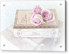 Shabby Chic Cottage Chic Dreamy Pastel Pink Cottage Roses With Romantic Love Pink Books Acrylic Print by Kathy Fornal