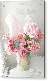 Shabby Chic Dreamy Pink Peach Impressionistic Romantic Cottage Chic Paris Floral Art Photography Acrylic Print by Kathy Fornal