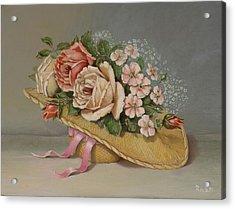 Shabby Chic Roses Acrylic Print by Radoslav Nedelchev