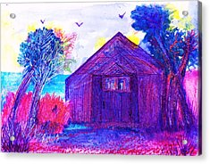 Shack And Trees By The Water Acrylic Print by Anne-Elizabeth Whiteway